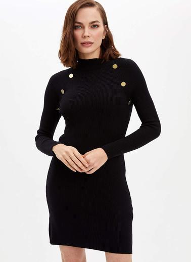 DeFacto Boğazlı Triko Elbise Siyah